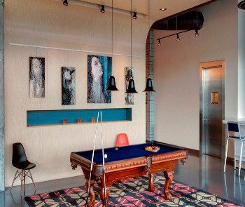 Pool table, main floor courtesy Aloft