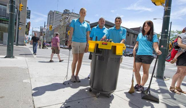 Members of the Downtown London Clean Team, Laura Schreurs, left, supervisor Eric Groves, Daniel Diaz and Hilary Harrison
