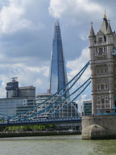 The Shard, behind Tower Bridge, London, City Cruises on the Thames, Photo by Mike Keenan