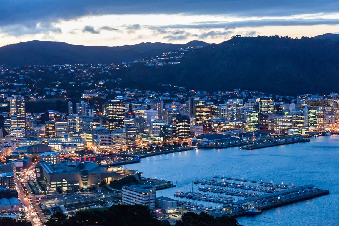 Wellington Harbour and city viewed from Mount Victoria at twilight, photos by Russell Street