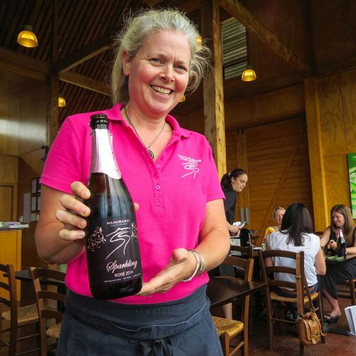 Bottle of Rose, Mahurangi River Winery & Restaurant, New Zealand, photo by Mike Keenan