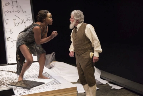Kiera Sangster as Black Mamba Snake and Guy Bannerman as GBS in The Adventures of the Black Girl in Her Search for God. Photo by David Cooper