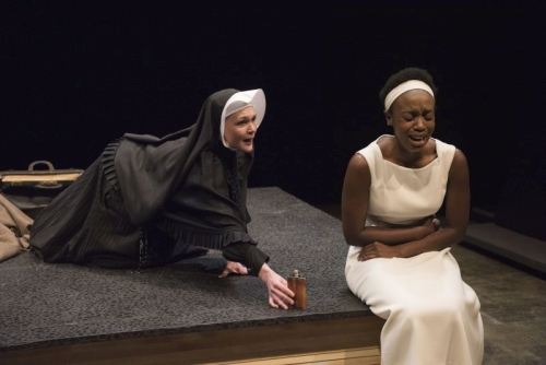 Tara Rosling as White Missionary and Natasha Mumba as Black Girl in The Adventures of the Black Girl in Her Search for God. Photo by David Cooper