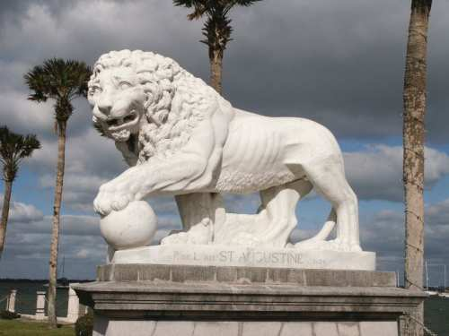 Lion statue, photo by Visit St. Augustine