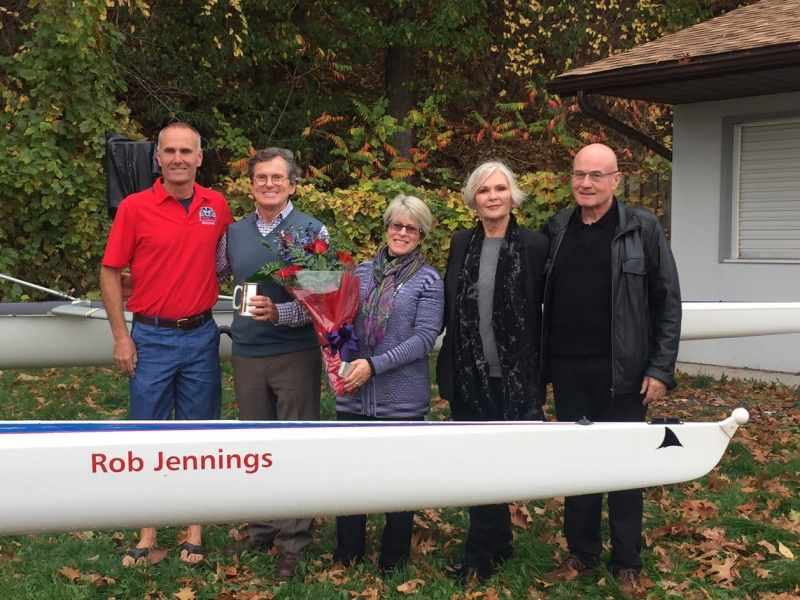 Pictured are Peter Somerwil, Head Coach Brock Rowing, Rob Jennings (BA'68), Elizabeth Jennings, Marion Henderson and Ren Henderson (BA'68)