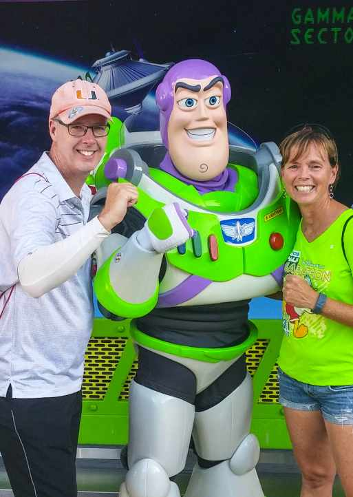 Buzz Lightyear at the Magic Kingdom with Kathy and Fred