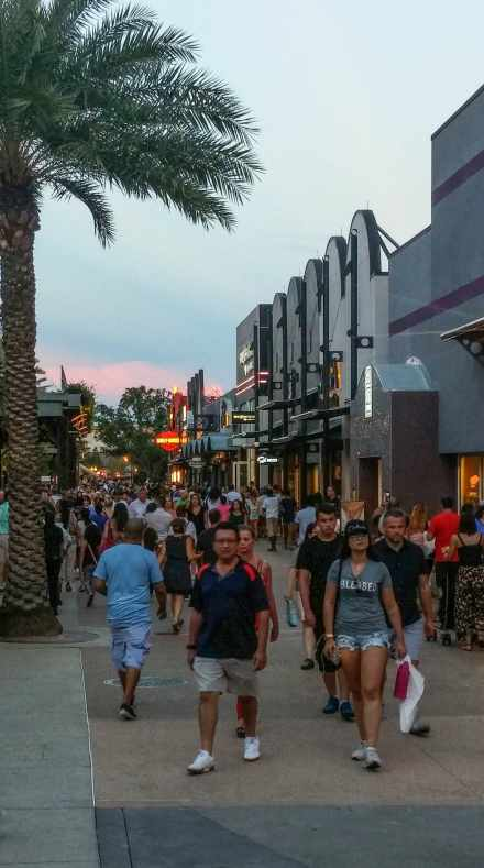 A busy evening at Disney Springs