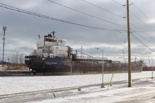 One of the lakers moored along the canal at Port Colborne for the winter